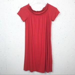 SO Off The Shoulder Swing Dress Red Size Medium